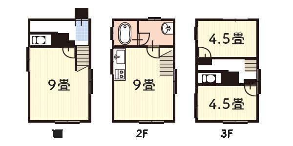 7坪:狭小3階建て住宅