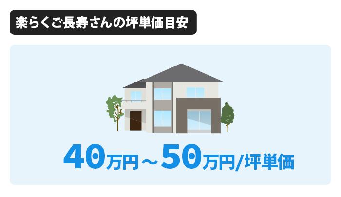 楽らくご長寿さんの坪単価は40万円から50万円