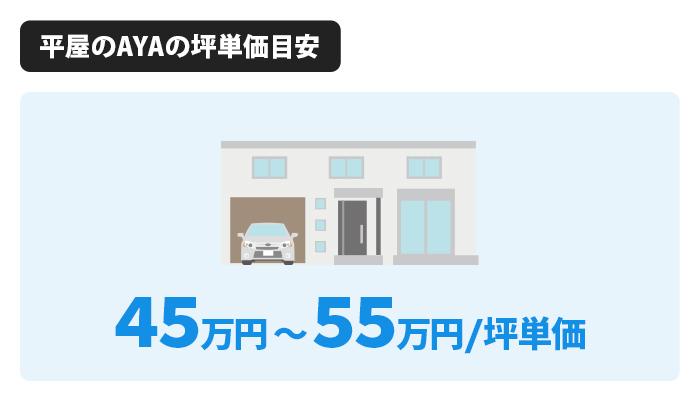 平屋のAYAは坪単価が45万円~65万円