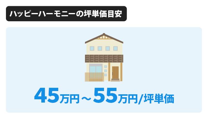 ハッピーハーモニー(二世帯住宅)の坪単価は45万〜55万円