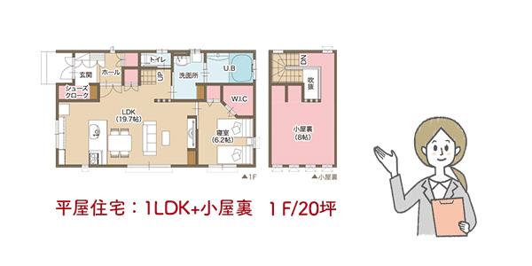 平屋住宅1LDK+小屋裏