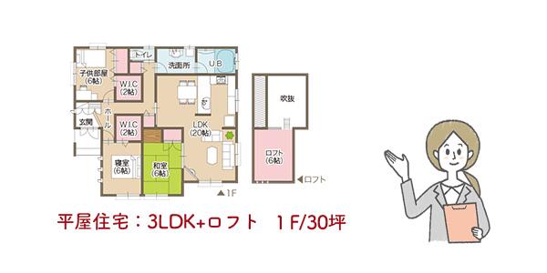 平屋住宅3LDK+ロフト