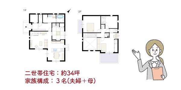 二世帯住宅:約34坪