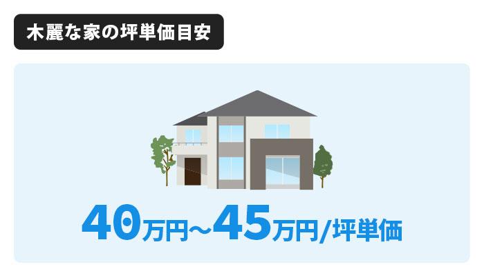 木麗な家の坪単価は40万円〜45万円