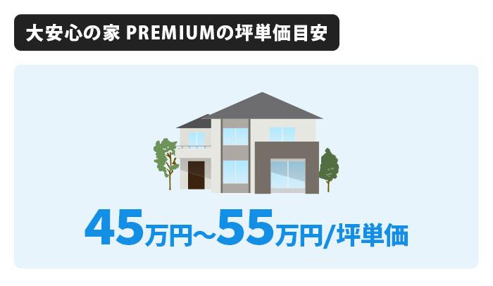 大安心の家 PREMIUMの坪単価は45万円〜55万円
