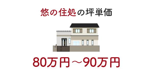 悠の住処の坪単価目安は75万円〜90万円