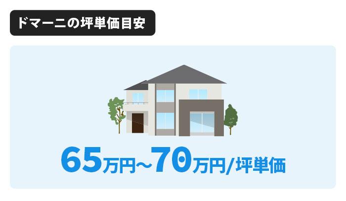 ドマーニの坪単価は65万円〜70万円