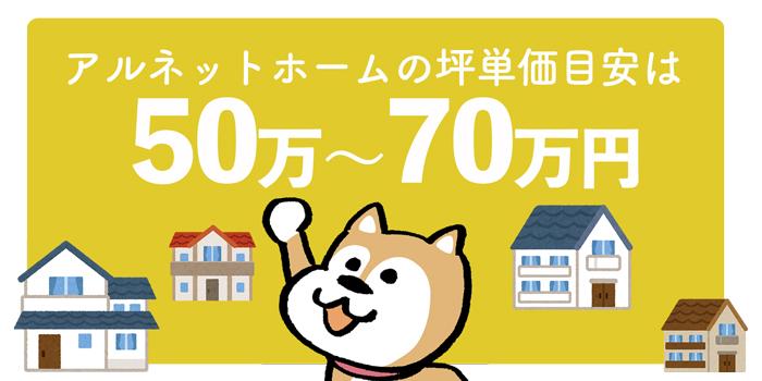 アルネットホーム全体の坪単価は50万〜70万円