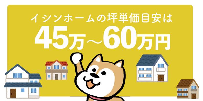 イシンホーム全体の坪単価は45万円~60万円