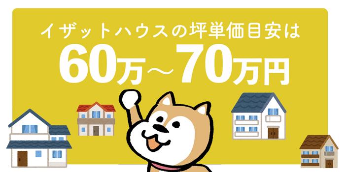 イザットハウス全体の坪単価は60万円~70万円