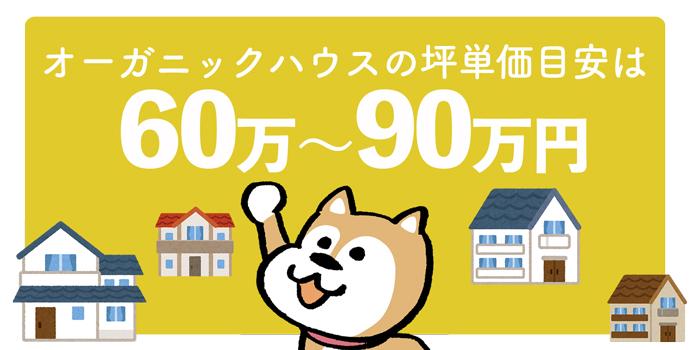 オーガニックハウス全体の坪単価は60万円~90万円